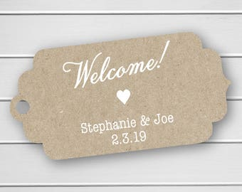 Welcome! Wedding Tags, Destination Wedding, White Ink on Kraft Wedding Favor Hang Tags  (FT-293-KR-WT)