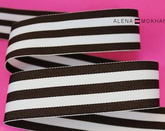 """5 yards 1.5"""" Brown & White Stripes Grosgrain Woven Ribbon"""