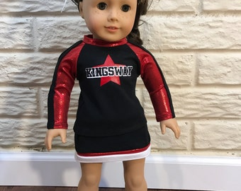 18 Inch or 15 Inch Dolly Black/Red/White Cheerleader Uniform