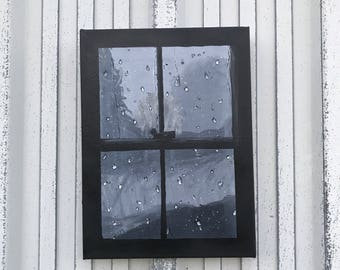 Rainy day painting,  window painting, black and grey window, Looking through the window painting, Acrylic  Abstract Painting Wall Decor
