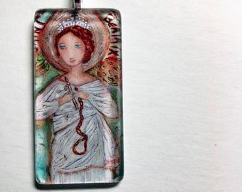 Saint Beatrix -   Original Glass Tile Pendant  by FLOR LARIOS ART