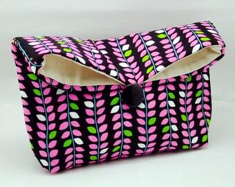 Foldover clutch, Fold over bag, clutch purse, evening clutch, wedding purse, bridesmaid gifts - Vines (Ref. FC75)