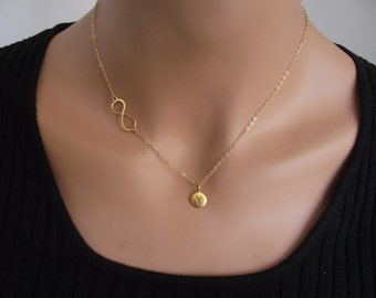 Infinity Love 24K Gold Necklace - one(1) Initial  Personal Initial,  Eternity Circle, Infinity Link,  - Dainty Necklace