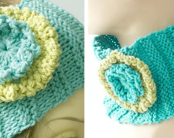 Flower Headband, Knit Ear Warmers, Spring Head Band,  Pony Tail Hat,  Turquoise Chartreuse  Neck Warmer, Ready to Ship