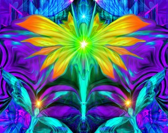 "Psychedelic Angel Art, Chakra Energy,  Reiki Attuned Wall Decor ""Centered"""