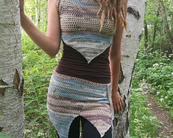 On Sale - Sky blue / brown pixie top & skirt size S-M