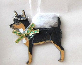 Hand-Painted CHIHUAHUA TRI COLOR Feathered Wing Angel Wood Christmas Ornament.....Artist Original