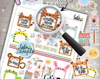 60%OFF - Stickers Set, Printable Planner Stickers, Spring Stickers, Animal Stickers, Planner Accessories, Cute Stickers, Happiness