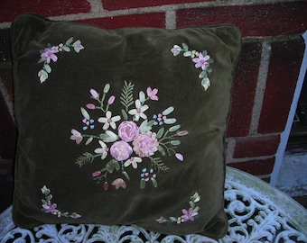 vintage  pillow green velveteen flower  pillow zipper