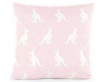 CLEARANCE Pink Kangaroo Pillow Cover, Choose Your Size, Australian Animal Pillow, Nursery Pillow, Throw Pillow