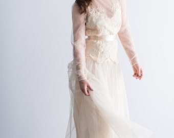 1970's Embroidered Lace Swiss Dotted Tulle Wedding Gown