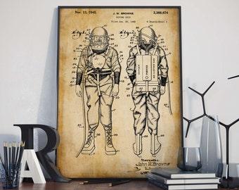 Dive Suits| Vintage Scuba| Wetsuits| Scuba Diver Gift| Scuba Diver| Scuba| Diving Print| Scuba Art| Scuba Poster| Scuba Wall Art| HPH187