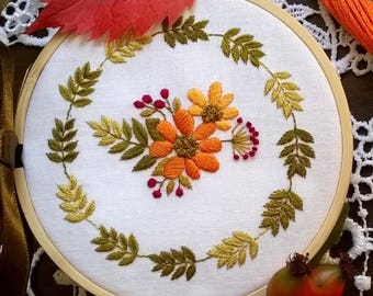 "Embroidery KIT - Embroidery pattern - embroidery hoop art - "" Autumn morning"" - hand embroidery kit"