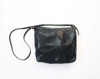 Whiting and Davis Navy Blue Chain Mail Crossbody Mesh Purse Cocktail Party Evening Bag Glam 70s Studio 54 Slouch Shoulder Bag 1970s Pouch
