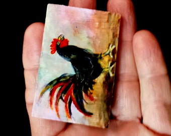 Miniature painting Rooster art Mini Art Miniature rooster Painting original art Rooster Black chicken 1.5 x 2.25 inch solid wood