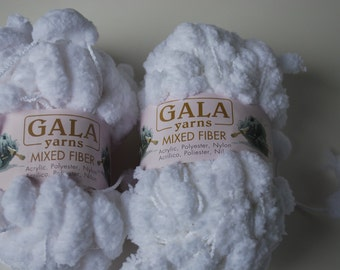 2 skeins Gala yarns mixed fiber white