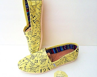 engineer shoes - engineer gifts - math teacher gift - math shoes - gift for engineer - engineering gift - custom toms - painted shoes