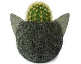 Animal Planter. Felt Planter. Gray Cat. Plant Pot. Kitten Planter. Cactus Pot. Animal Plant Pot. Best Friend Gift. Cat Lover Gift