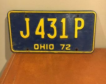 Vintage Ohio license plate 1972
