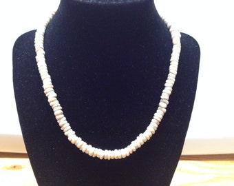 Vintage Shell Beaded Necklace, Length 17''