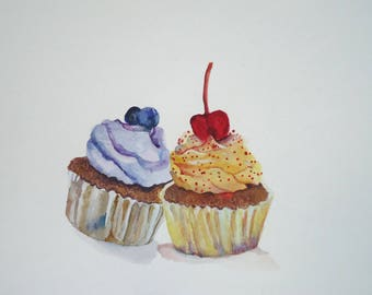 Cupcake Watercolor, Food Painting,Food Art, Kitchen Decor, Original Cupcake Art