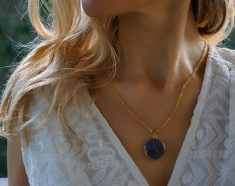 Matilda - Natural Agate Gold Plated Pendant, Charm Necklace