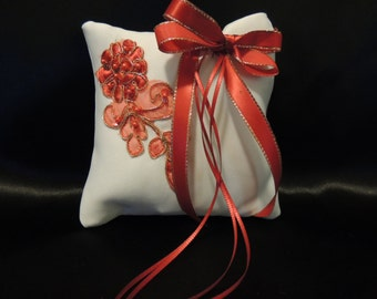 Small Dog Over the Collar Ring Bearer Pillow Red Applique