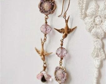 Engraved Chinese Earrings, Chandelier earrings, Purple earrings, Asymmetric earrings, bird earrings