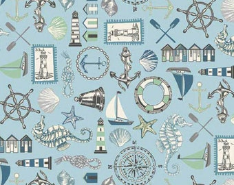 Beachcombers - Icons Blue from Andover-Makower