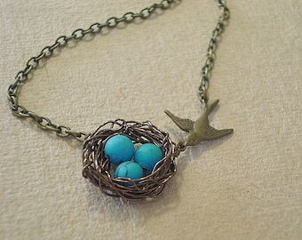 Birdnest Necklace Turquoise Spring Necklace Pearl Necklace Bird Nest Necklace Jewelry Bird Nest Necklace Robins Nest