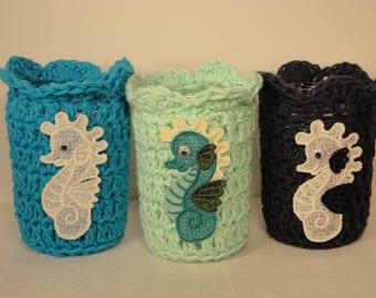Mason Jar Cozy -Crocheted Candle Wrap - Jar Cozy - Candle Cozy - Mason Jar Sleeve - Seahorse - Aqautic Candle - Seahorses - Mason Jar Cover