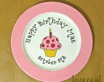 "Personalized Cupcake with Signature Rim - 10.5"" Large Ceramic Birthday Plate"