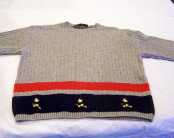 Duma wool childrens sweater, with Huey Dewey and Louie, made in Italy