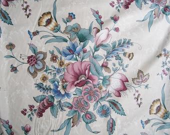 "Vintage House & Home DECORATOR FABRIC 4 1/2 yd Large Floral Bouquet Cotton 54"" wide"