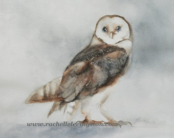 print of owl print woodland nursery print owl Painting of barn owl print watercolor woodland nursery art print nursery decor halloween art