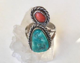 vintage turquoise and coral ring, size 8.5