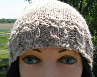 Alpaca / Wool Hat, Tan Knit Hat for Men or Women, Handmade Beanie, Winter Hat