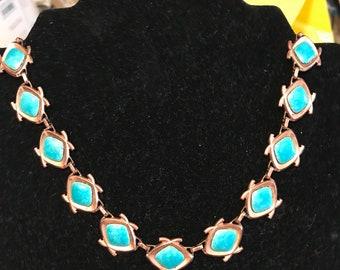 Renior Matisse Copper & Turquoise Enamel Necklace