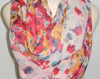 infinity floral scarf, red and blue scarf, mother's day gift, teacher's gift, gift for her,