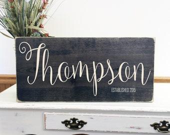 Family Established Sign, Wedding Gift Last Name Established, Rustic Family Established Sign, Personalized Family Established Sign - Wood