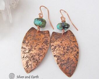 SALE: Tribal Shield Earrings, African Earrings, Copper Turquoise Earrings, Ethnic Tribal Jewelry, Handmade Metalsmith Earrings, Sale Jewelry
