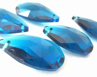 5 Zircon Blue Teardrop Chandelier Crystal 38mm