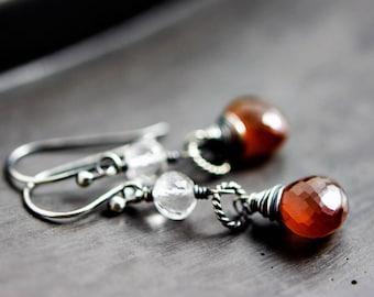Spessartite Garnet Earrings, Garnet Jewelry, January Birthstone, Silver Earrings, Drop Earrings, Birthstone Earrings