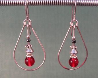 Sterling Silver Red Glass Teardrop Earrings
