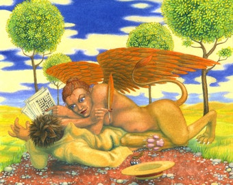 """Original surreal mythical painting: """"The Sphinx Changes the Rules"""" - art by Nancy Farmer (unframed)"""