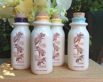 Ceramic Milk Bottle, Handmade Milk Bottle, Bee Family Milk Bottle, Beekeeper Milk Bottle, Ceramic Honey Bottle, Ceramic Cork Jar