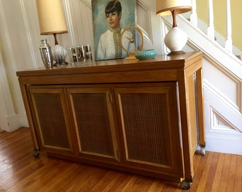 CREDENZA and DINING TABLE Midcentury Bar Cabinet Server Console Top expands Blonde Wood Cane Doors c1950s Vintage Retro