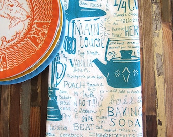 Screen Printed Tea Towel - Flour Sack Towel - Eco Friendly Kitchen Towel - Dish Towel - Tea Towel - Handmade - Eco Friendly Cotton Towel