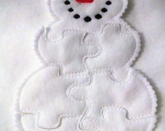 Snowman Felt Puzzle - Perfect for party favors - school treats - busy bags or quiet books - puzzle game - #P804