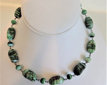 Vintage Art Glass Necklace | Green Art Glass Beads | 1970s Boho Necklace | Green Glass Bead Jewelry | Gift Jewelry Jewellery